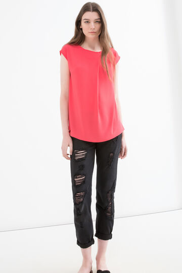 Solid colour stretch blouse, Pink, hi-res