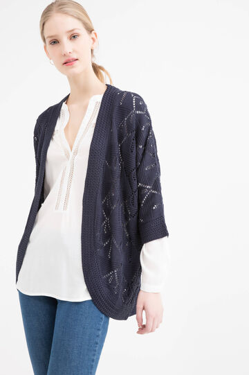 Knitted openwork cardigan, Navy Blue, hi-res