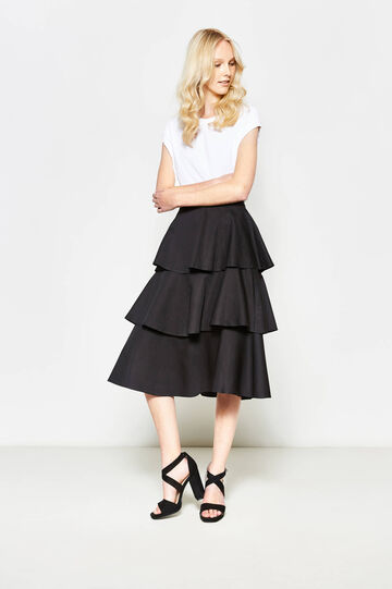 Solid colour skirt with flounces, Black, hi-res