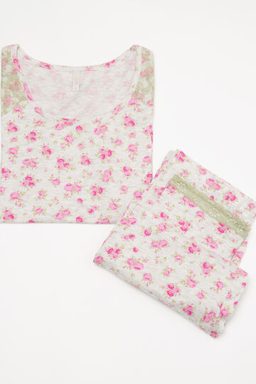 Cotton pyjamas with floral pattern, Green/Grey, hi-res