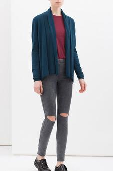 Viscose blend jacket with lapels, Petrol Blue, hi-res