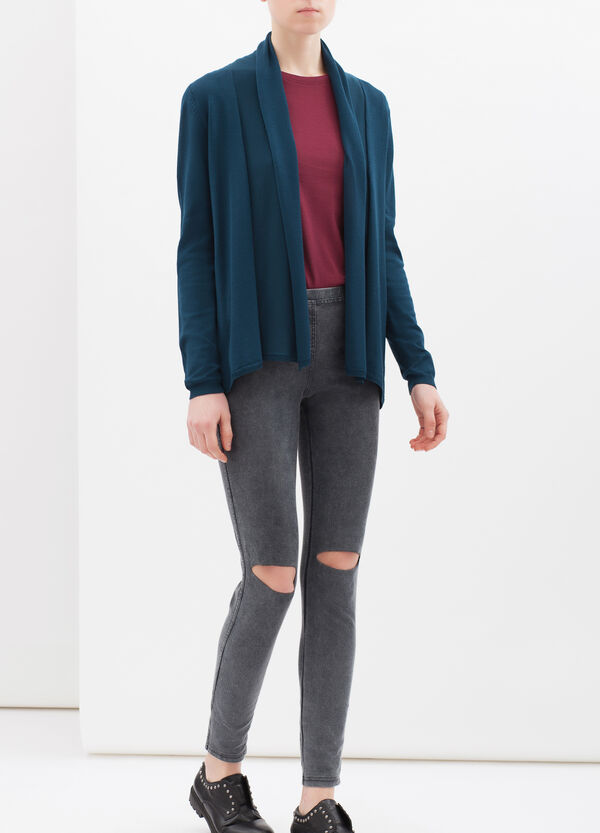 Viscose blend cardigan with lapels | OVS