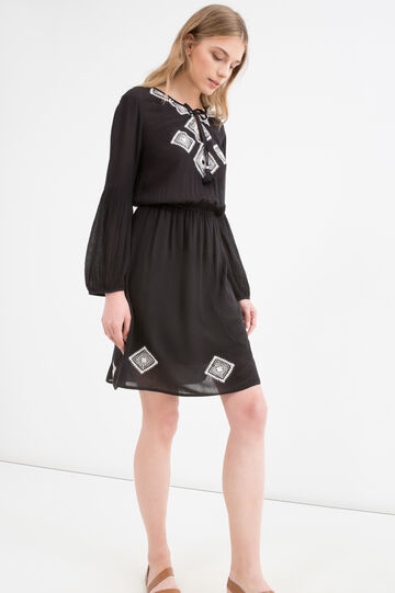 100% viscose dress with embroidery, Black, hi-res