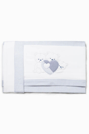 Polka dot bed sheet with patches, White/Blue, hi-res