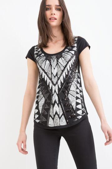 T-shirt cotone e modal paillettes, Nero/Grigio, hi-res