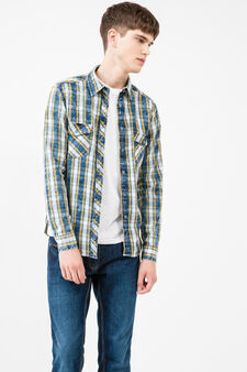 Casual check shirt in 100% cotton, Blue/Yellow, hi-res