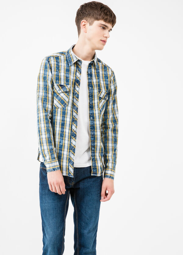 Casual check shirt in 100% cotton | OVS