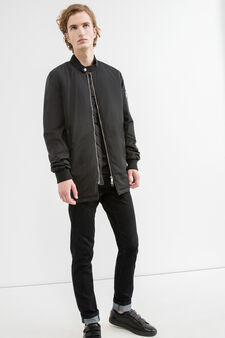 Jacket with zip and snap button, Black, hi-res