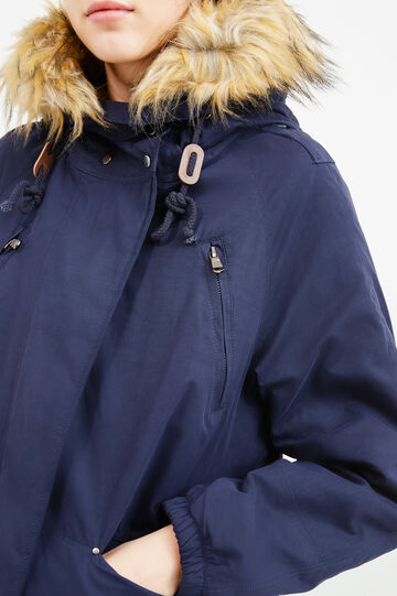 Cotton blend jacket with fur, Navy Blue, hi-res