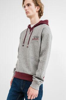 G&H cotton blend sweatshirt with V insert, Grey Marl, hi-res