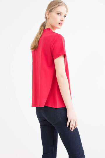 Cotton T-shirt with mandarin collar., Red, hi-res
