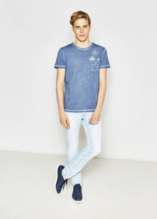 Misdyed-effect T-shirt with print | OVS