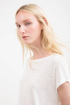 T-shirt puro rayon inserto pizzo, Bianco, hi-res