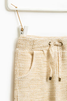 Knitted cotton trousers, Beige, hi-res