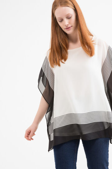 Curvy striped blouse in viscose blend, White/Black, hi-res