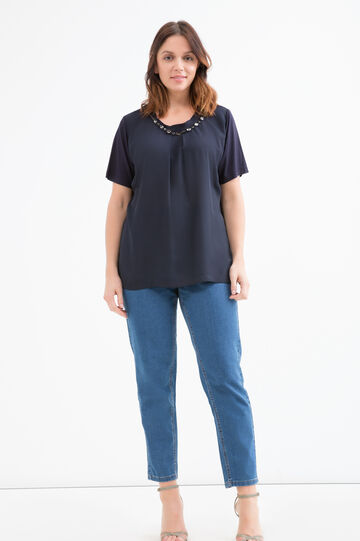 Curvy blouse in viscose blend with diamantés, Navy Blue, hi-res