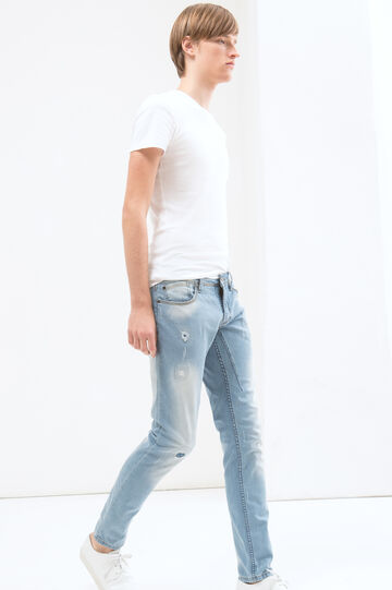Jeans skinny fit cuciture a contrasto, Azzurro, hi-res
