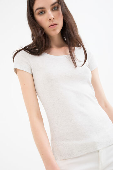Solid colour T-shirt in 100% cotton, Grey, hi-res