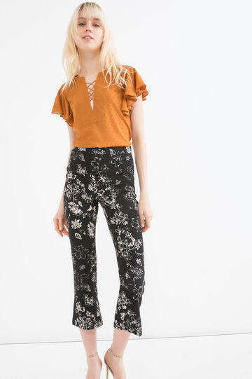 Floral stretch trousers, White/Black, hi-res