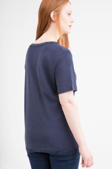 Curvy 100% cotton T-shirt with lace, Navy Blue, hi-res