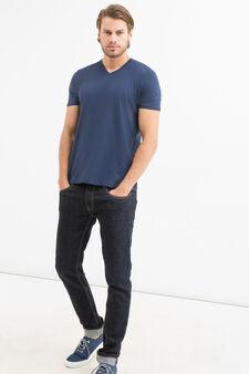 V-neck T-shirt in 100% cotton, Blue, hi-res