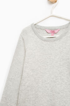 Cotton blend pullover with tulle flounces, Grey Marl, hi-res
