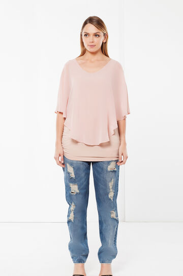 Curvyglam blouse with poncho, Light Pink, hi-res