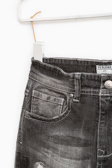 Worn-effect jeans with rips, Grey, hi-res