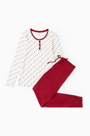 Polka dot pattern pyjamas in 100% cotton, Cream White, hi-res