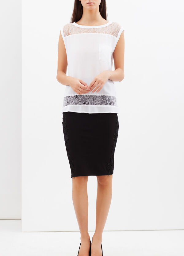 Sleeveless top with semi-sheer inserts | OVS