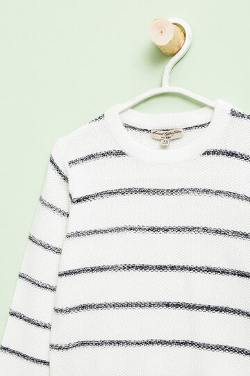 Jersey de rayas en mezcla de algodón, Blanco/Azul, hi-res