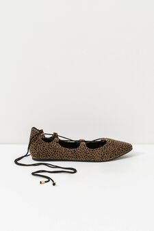 Ankle lace-up ballerina flats, Brown, hi-res