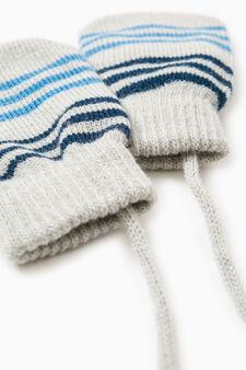 Striped pattern gloves, Grey, hi-res