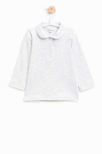 Polo in cotone stretch fantasia a cuori, Bianco/Grigio, hi-res