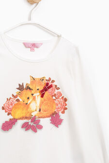 Printed diamanté T-shirt in cotton., Milky White, hi-res