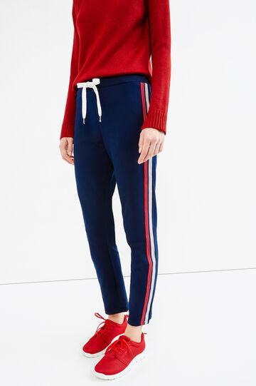 Pantaloni tuta con coulisse a contrasto, Blu navy, hi-res