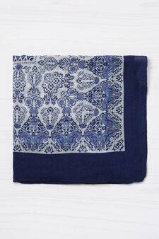 Printed scarf with solid colour trim, Blue, hi-res