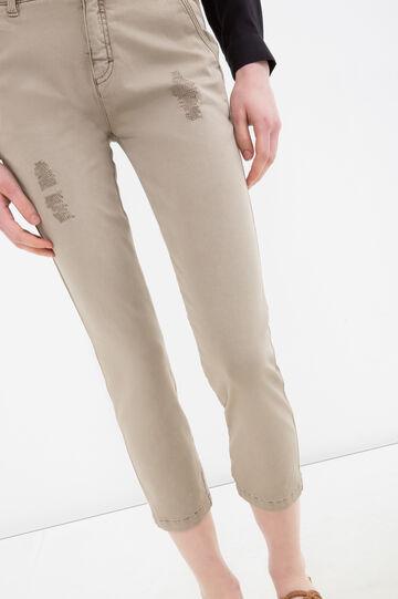Stretch cotton crop pants, Beige Brown, hi-res