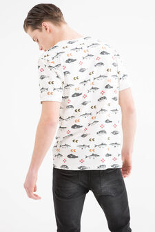 T-shirt puro cotone stampata, Bianco sporco, hi-res