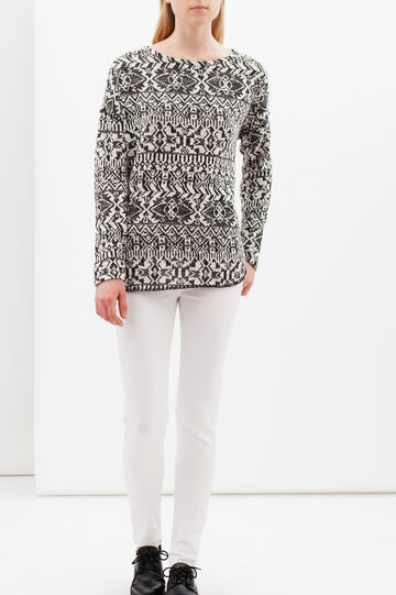 Geometric pattern sweatshirt, White/Black, hi-res