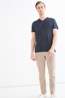 Slim-fit chino trousers in stretch twill, Khaki, hi-res