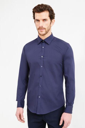 Camicia formale slim fit colletto classico, Blu scuro, hi-res