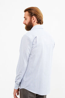 Cotton formal shirt with regular fit, Blue/Brown, hi-res