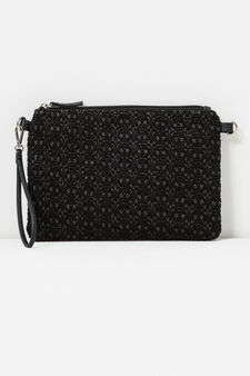 Glitter pattern clutch bag., Black, hi-res