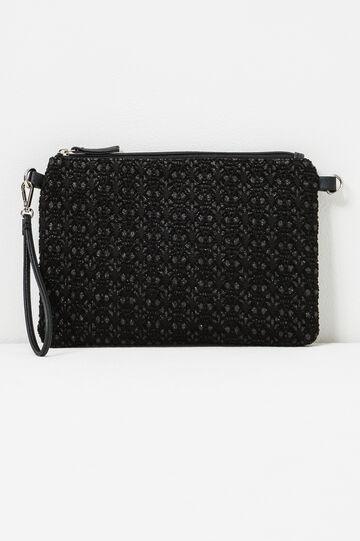 Glitter pattern clutch bag., Black, hi-res