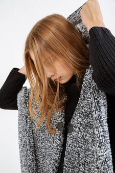 Knitted cape with toggle and fringe, Black/White, hi-res
