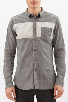 100% cotton shirt with insert, Light Grey, hi-res