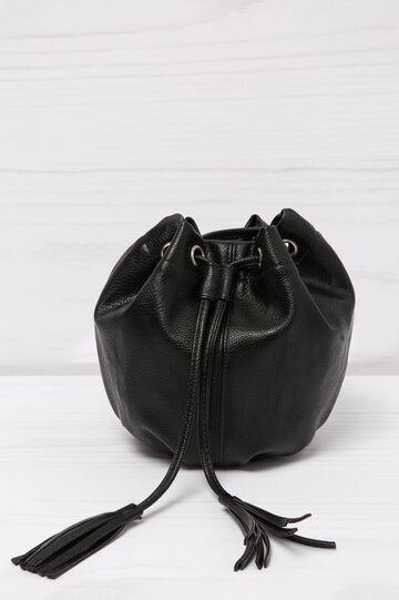 Leather look shoulder bag, Black, hi-res