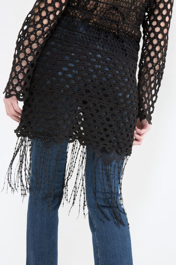 Cotton blend dress with lace and mesh, Black, hi-res