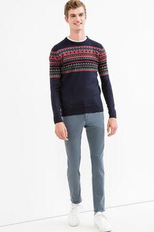 Slim fit, stretch cotton trousers, Deep Blue, hi-res